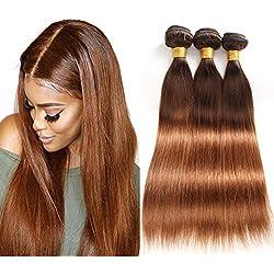 Ombre Brazilian Virgin Hair Straight Human Hair Bundles, 14 16 18 2 tone Ombre Bundles,T4/30 Medium Brown/Medium Auburn