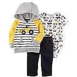 Carter's Baby Boys' 3 Piece Little Jacket Set 3 Months, Blue/Yellow Truck