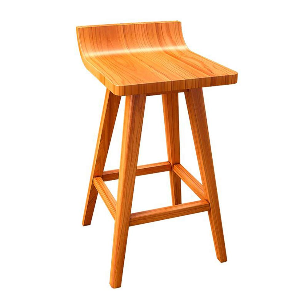 LIQICAI Wooden Bar Stool with Natural Finish Footrest Elegant and Ergonomic Seat Surface, 3 Seat Height Optional (Color : Teak Color, Size : 43x41x65cm)