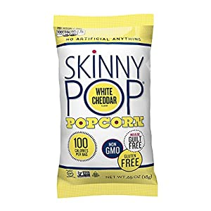 Skinny Pop Popcorn, 100 Calorie Bags, White Cheddar, 0.65 Oz (Pack of 20)