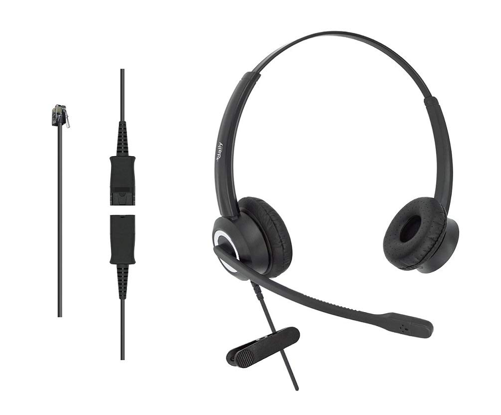 DailyHeadset RJ9 Corded Office Phone Noise Canceling Headset for Aastra Avaya Alcatel-Lucent Allworx AltiGen Digium IPitomy Landline Telephone (Binaural) by DailyHeadset