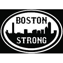 Boston Strong City Bomb Car Truck Window Bumper Vinyl Graphic Decal Sticker- (6 inch) / (15 cm) Wide MATTE WHITE Color