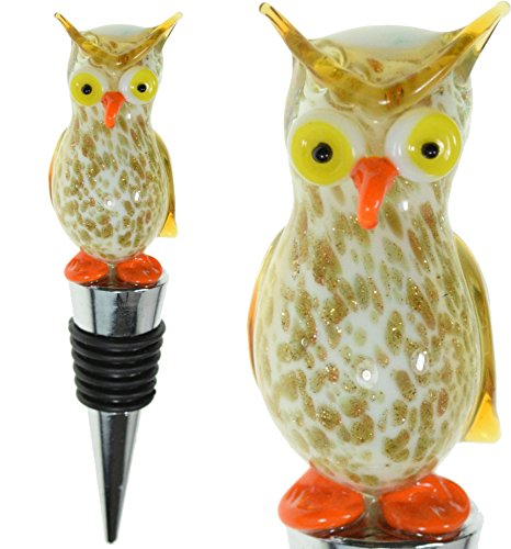 Regal Bottle Stopper - Glass Owl Wine Bottle Stopper (20+ Designs to Choose From) - Colorful, Unique, Handmade, Eye-Catching Decorative Glass Wine Bottle Stopper … (Owl - Regal)