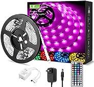 LE LED Strip Lights Kit, 16.4ft 5M RGB LED Light Strips, Color Changing Light Strip with Remote Control, 12V P