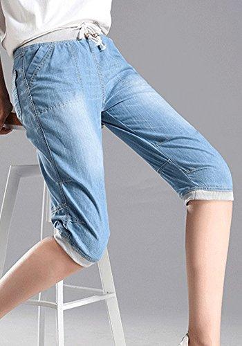 Collge Clair Court lastique Jeans Size Grande ZhuiKunA Bleu Taille Femmes Cordon Wind 5BqxpF