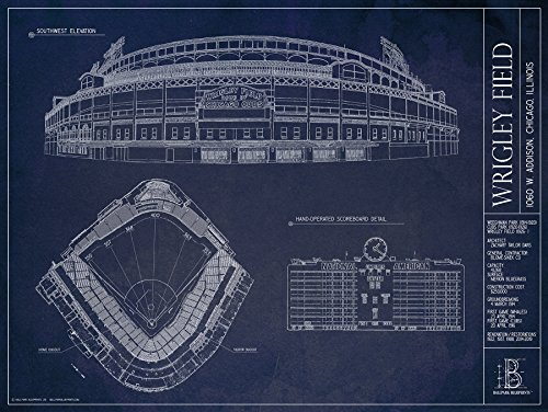Wrigley Field Blueprint Print Updated 2016 Buy Online