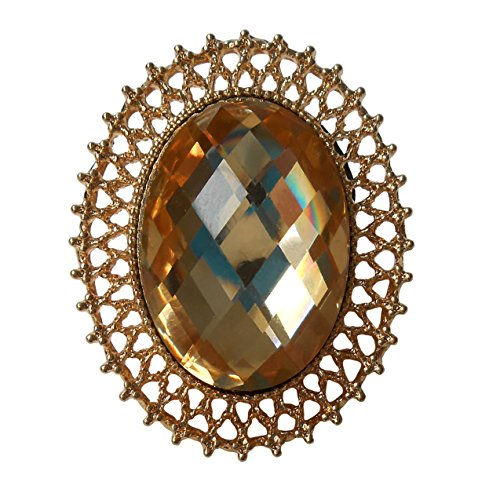RareLove Vintage Yellow Rhinestone Alloy Metal Oval Shape Web Brooch for Women