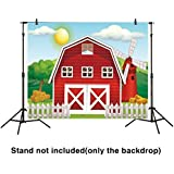 Funnytree 7x5ft Polyester Children Backdrop Red Tiny Farm on A Peaceful Morning Cartoon Background for Photography or Decoration