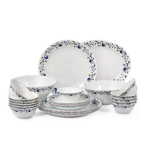 Cello Imperial Vinea Opalware Dinner Set, 27 Pieces, White