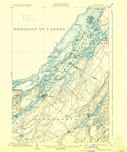 YellowMaps Alexandria Bay NY topo map, 1:62500 Scale, 15 X 15 Minute, Historical, 1903, Updated 1931, 19.7 x 16.5 in - Tyvek