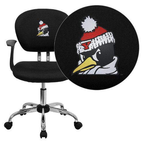 Flash Furniture Youngstown State University Penguins Embroidered Black Mesh Task Chair with Arms and Chrome Base
