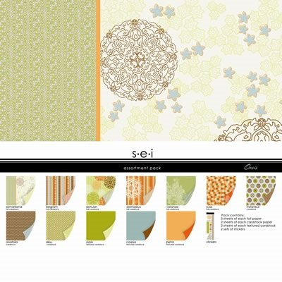 Sei Scrapbook 12x12 Paper - SEI Oasis Assortment Pack 24 2-Sided Sheets and 2 Sets of Stickers