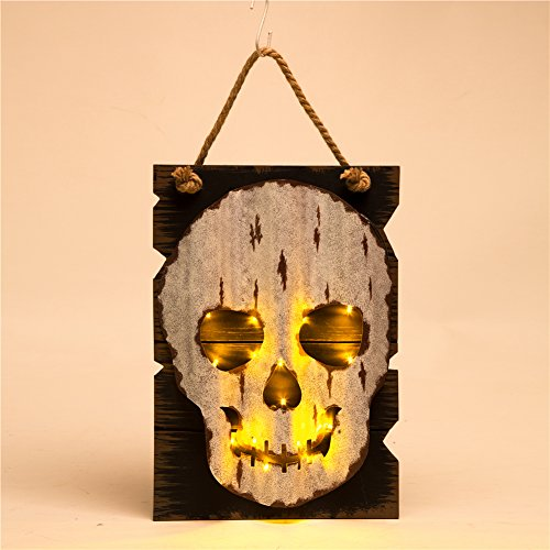 Glitzhome Handcrafted Halloween Wooden/Iron Skull Head Wall Hanging Decor With Light (Homemade Scary Halloween Decorations Yard)