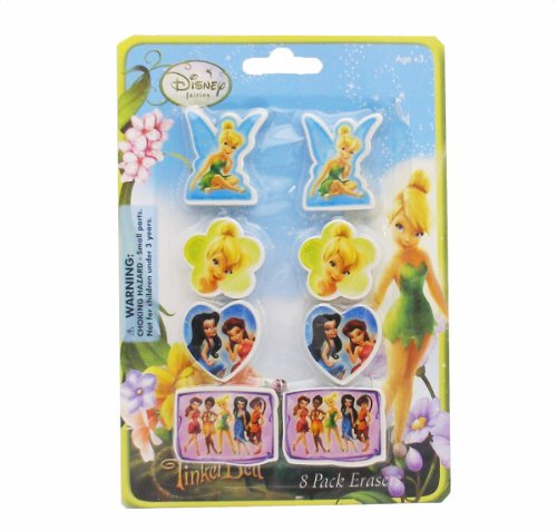 [Tinkerbell Erasers - Pack of 8 Erasers with Image Printed Infront Of Erasers - Tinkerbell feairies Erasers] (Tinkerbell Erasers)