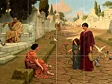 OUTSIDE THE GATE OF POMPEII by JOHN WILLIAM GODWARD people girl woman Tile Mural Kitchen Bathroom Wall Backsplash Behind Stove Range Sink Splashback 4x3 4'' Marble, Matte