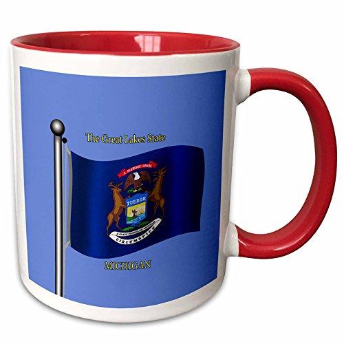 3dRose 777images Flags and Maps -States - Waving flag of Michigan on flagpole with state name and nickname - 15oz Two-Tone Red Mug (mug_195254_10)