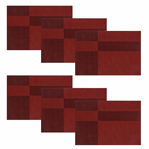 HEBE Placemats for Kitchen Table Durable Woven Vinyl Kitchen Table Mats Placemat Set of 6 Heat Resistant Non-slip Easy to Clean