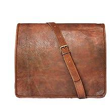 """15"""" Men's Genuine Leather Messenger bag Laptop bag Satchel College crossbody shoulder bag gift for men women"""