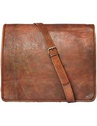 15 Mens Genuine Leather Messenger bag Laptop bag Satchel College crossbody shoulder bag gift for men women