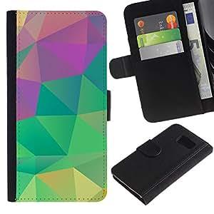LASTONE PHONE CASE / Lujo Billetera de Cuero Caso del tirón Titular de la tarjeta Flip Carcasa Funda para Samsung Galaxy S6 SM-G920 / Teal Pink Green Yellow