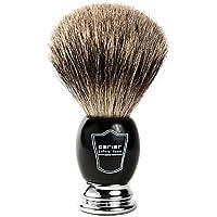 """Parker Safety Razor Handmade Deluxe """"Long Loft"""" 100% Pure Badger Brocha de afeitar con mango negro y cromado - Soporte de cepillo incluido"""