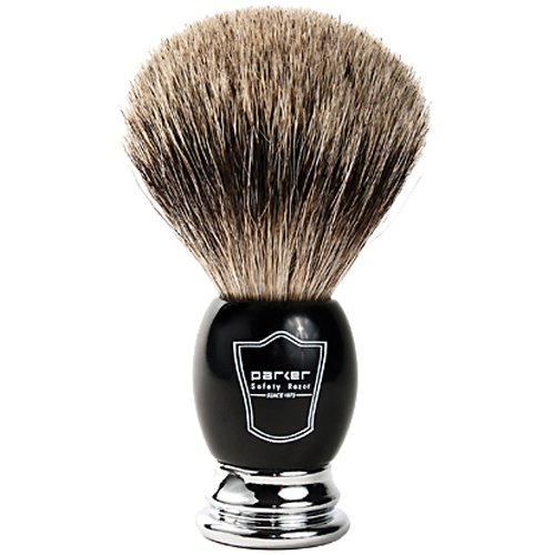 "Parker Safety Razor Handmade Deluxe""Long Loft"" 100% Pure Badger Shaving Brush with Black & Chrome Handle - Brush Stand Included"