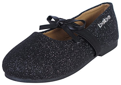Bebe Toddler Girls' Ballet Glitter Flats with Bow on Elastic Strap, Black, Size (Glitter Flats With Bow)