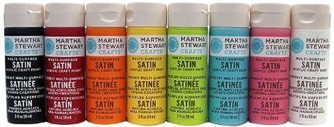 Martha Stewart Crafts Multi-Surface Satin Acrylic Craft Paint Set (2-Ounce), MS8SET Beginner Colors (Acrylic Paint Beginner)