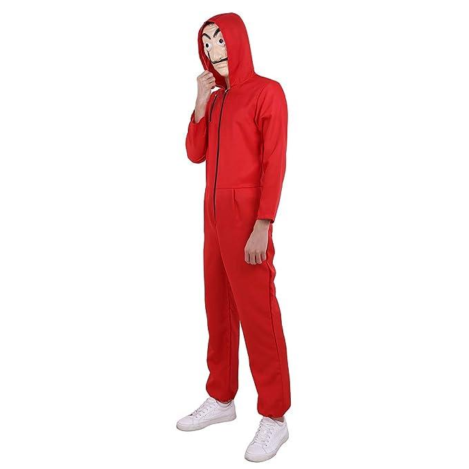 CHICTRY Unisex Disfraz Halloween Fiesta Adulto Mono con Capucha Body Romper Jumpsuit Disfraz de Ladrón Traje