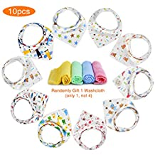 GHB 10-Pack Baby Bibs Bandana Drool Bibs for Girl and Boy Cotton Baby and Toddler Bib