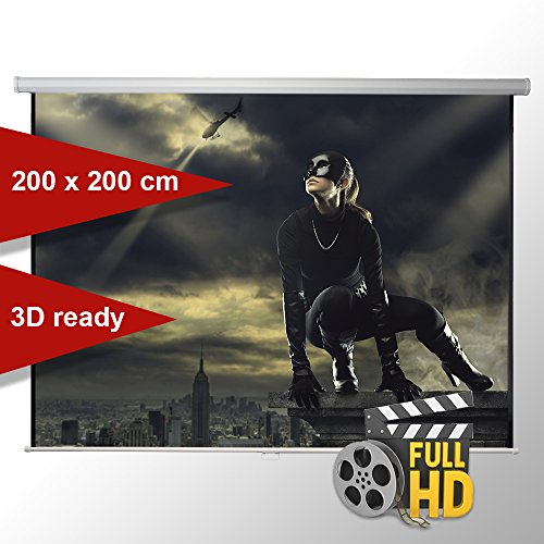ivolum Rolloleinwand 200 x 200cm,Leinwand Format 1:1 , Heimkino Leinwand, Beamerleinwand,3D Leinwand,Full HD Leinwand, Leinwand Beamer