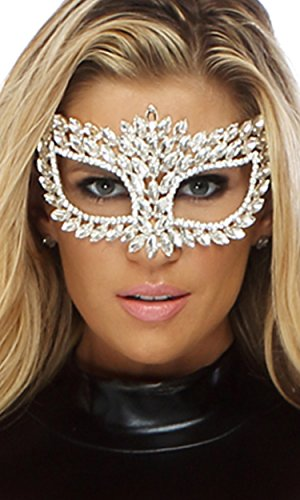 Forplay Women's Rhinestone Jewel Cat Eye Mask with Ribbon Tie Closure, Silver, One Size - Forplay Rhinestone