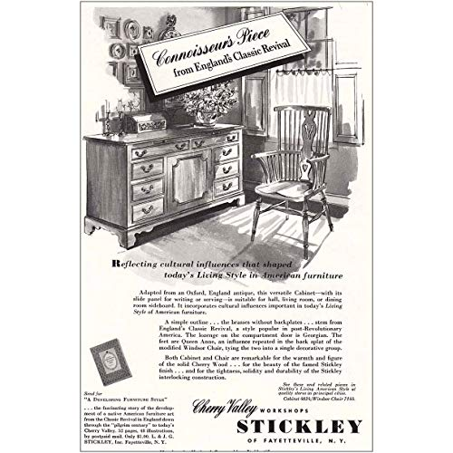 (RelicPaper 1953 Stickley Furniture: Connoisseurs Piece, England C, Cherry Valley Workshops Print Ad)