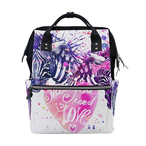 ALIREA Watercolor Love Zebra Diaper Bag Backpack, Large Capa