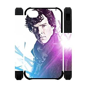 Perfect Arts Hot Movie Sherlock Holmes Unique Custom IPHONE 4 or 4S Best Polymer+Rubber Cover Case