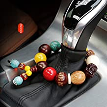 FOLCONROAD Car Hanging Decoration, Handbrake Beads Vehicle Pendant Rearview Mirror Hanging Ornament Natural Stone Gemstone Charms Home Accessories Jade Bead Bracelet Pray for Luck Safety Blessing