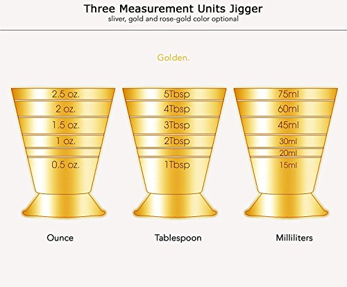 Emousport Bar Cocktail Jigger Three Scales Coffee Measuring Jigger Wine Cup Stainless Steel Practical Measure Jigger Bar Tool Party Supply (gold) by Emousport (Image #4)