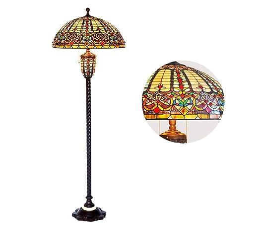Lámpara de pie tipo Tiffany de 22 pulgadas, base de cristal ...