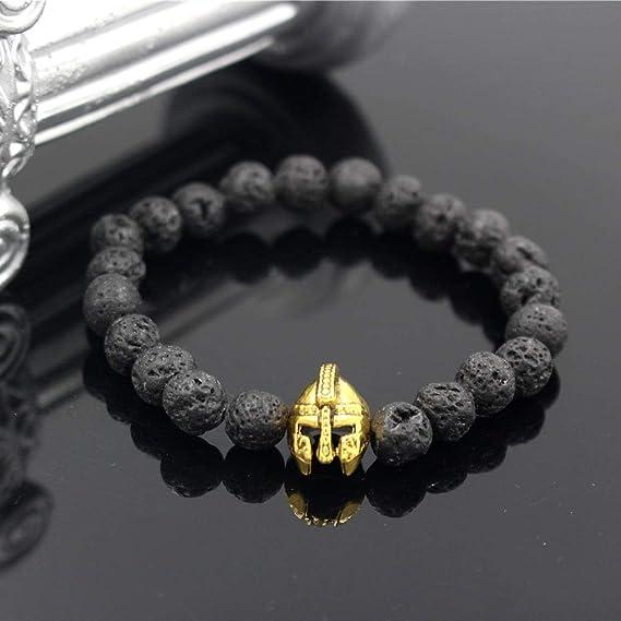 Amazon.com: Elastic Bead Bracelet Gold Helmet Yoga Lava Bead ...