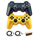 Bowink 2 Packs Wireless Bluetooth Controllers For PS3 Double Shock (Black and Gold)