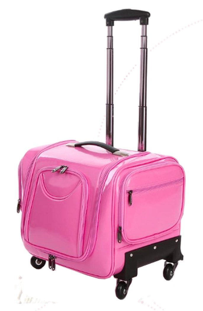 Douniushi Womens PU Leather Cosmetic Luggage with Wheels - Pink