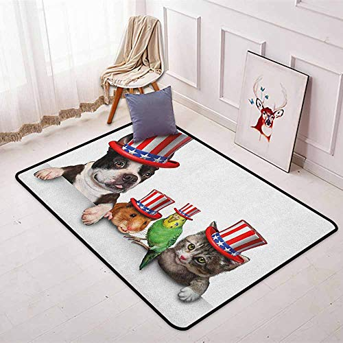 (Fourth of July Children's Bedroom Carpet Cute Pet Animal Dog Cat Bird and Hamster with American Hat Celebration Image Soft Fluffy W47.2 x L71 Inch Multicolor)