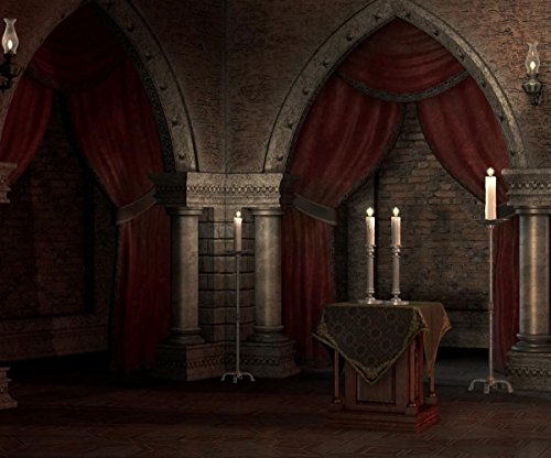 10x8ft Halloween Photography Background Old Gothic crypt with red curtains and candles Theme Backdrops Portraits Shooting Video Studio Props]()
