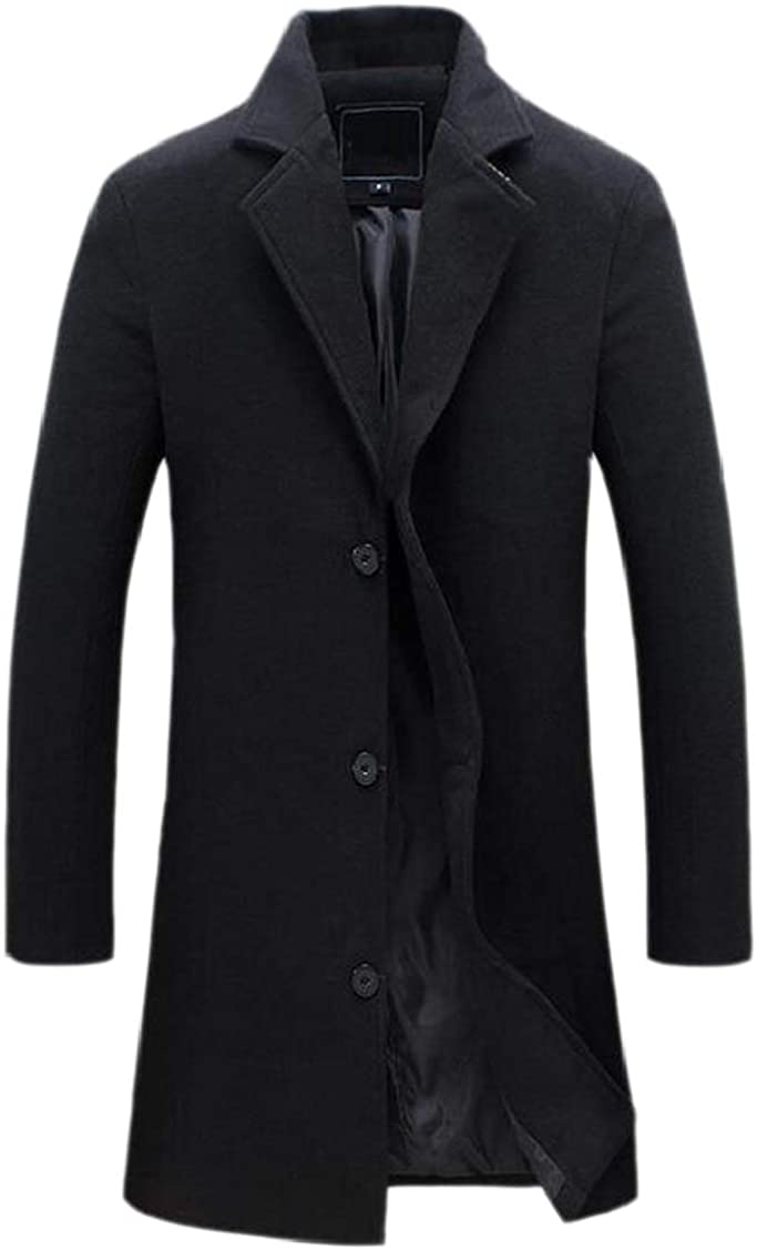 XQS Men Classic Notched Collar Double Breasted Wool Blend Pea Coats