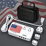 DOACE X9 2200W Power Strip with Travel Voltage Converter for Hair Dryer with Portable Bag, 220 to 110V Transformer, Adapters with 4-Port USB and UK/AU/EU Plug Wall Charger for Cell Phone Camera Laptop