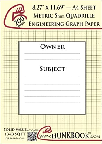Engineering Graph Paper (200pages/Cream): Metric 5mm Quadrille - A4