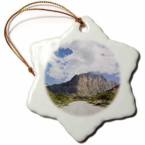 3dRose orn_74131_1 Oman, Hajar Mountains, Wadi Bani Awf Riverbed, Path-As27 Wbi0337-Walter Bibikow-Snowflake Ornament, 3-Inch, Porcelain by 3dRose