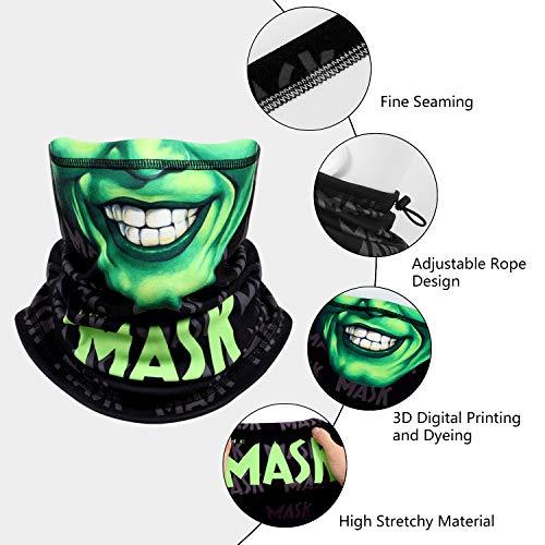 Skull Face Scarf Breathable Magic Neck Gaiter 3D Print Face Cover for Men/Women, Face-Green