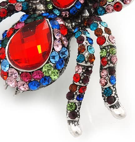 Avalaya Large Multicoloured Crystal Spider Brooch In Antique Gold Finish 6cm Length
