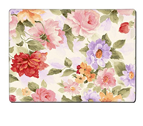 Floral Designer Wallpaper (Custom Design Placemat, Unique Printed Dining Rubber Table Mat Designer for floral flower nature pattern leaf illustration seamless texture rose textile wallpaper art decor)